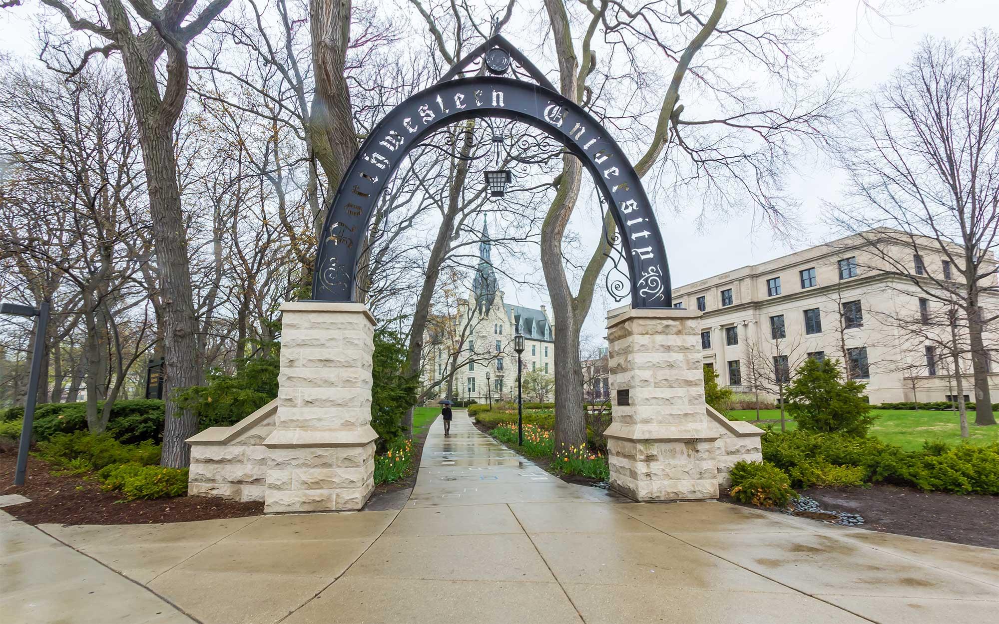 Northwestern University entrance with archway